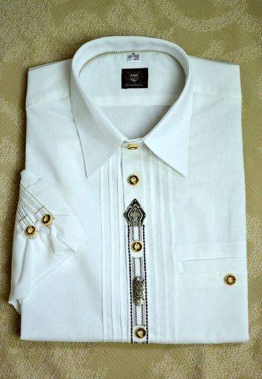 Men's Trachten Shirt White with Front Seam Detail