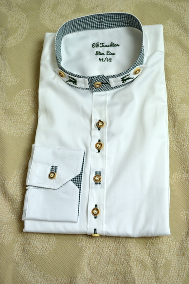 Men's Trachten Shirt White with Green Check Slim Fit