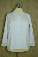 Ladies' Blouse V-Neck with Lace Trim
