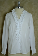 Ladies' Blouse V-Neck with Ruffle White