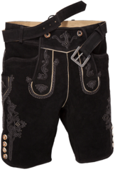 Lederhosen Shorts Schorsch Black with Belt