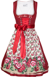 Dirndl Elitta Deep Red with Floral Apron