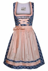 Dirndl Ementa Denim Blue and Pink
