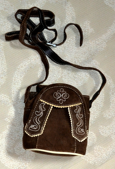 "Purse brown suede with lederhosen styling and embroidery.  Shoulder strap. 7""x5""x3"""