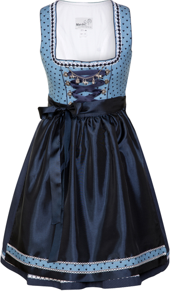 Dirndl short length in shades of denim blue and navy.  Cotton dress with heart print bodice; polka dot skirt and solid navy taffeta apron.
