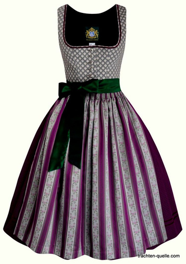 dirndl austrian style with brocade apron schurze in plum and rose with grey and green accents.  Photo shows green apron ties, our version has ties that match the apron fabric.