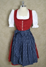 Dirndl Red with Navy Budget Friendly