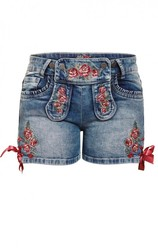 Ladies' Embroidered Denim Shorts Rose