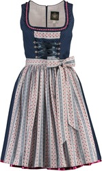 Dirndl Weissensee Blue with Floral Stripe Apron