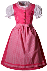 girls' cotton dirndl in bright pink.