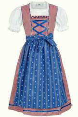 Girls' Dirndl Red Check with Blue Apron