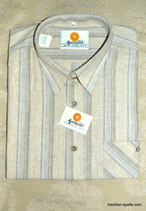 Men's Natural and Blue Chambray Stripe Shirt