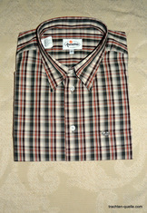 Men's Green and Rust Plaid Trachten Shirt