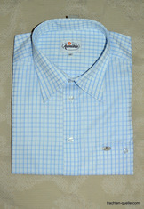 Men's White with Light Blue Check Casual Shirt