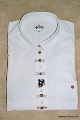 White Trachten Shirt with Grouse Embroidery Motif