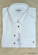 Men'ts Trachten Dress Shirt with Edelweiss Embroidery
