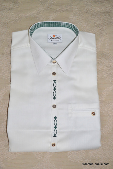 Men's Trachten Shirt with Green Embroidery Detail