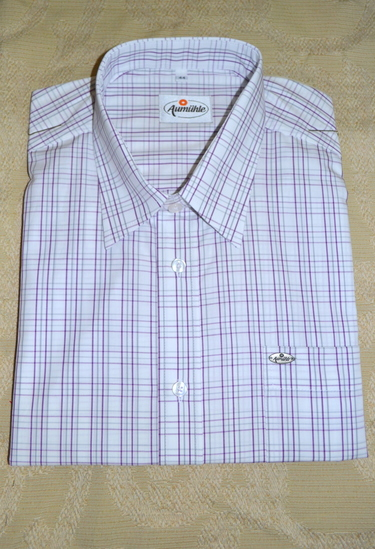 Men's Casual Shirt Purple/Grey Plaid