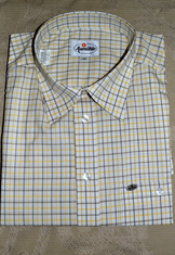 Men's Dress Shirt Taupe Yellow White Open Check XL only