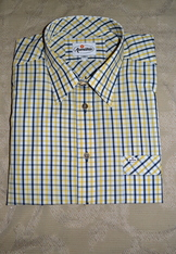 Men's Casual Shirt Navy Yellow Open Check Size Large