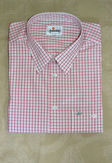 Men's Casual Dress Shirt Red White Open Check Size XL