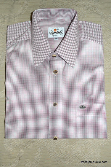 Men's Casual Shirt White with Fine Burgundy Check