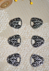 Dirndl Mieder Bodice Hooks Scrollwork Butterfly Set of 8