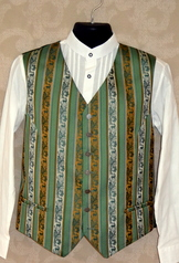 Striped brocade vest in ivory, green and taupe colour choice.