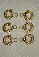 Dirndl Hooks Round Embossed Gold with Clear Rhinestone (set of 8)