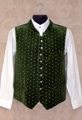 Men's Vest Green Velvet with Embroidery