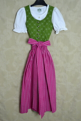 Girls' Dirndl Green with Fuchsia Apron and Blouse