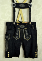 black lederhosen suede shorts for oktoberfest with suspender straps and cross piece