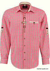Men's Trachten Shirt with Front Detail Red or Blue Check