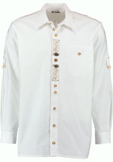 Men's Trachten Shirt White with Embroidery