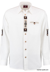 Men's Trachten Shirt White with Front Placket Detail