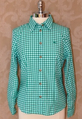 Basic cotton/poly woven checkered shirt with embroidered deer motif on left chest, and convertible sleeves.