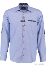 Men's Trachten Shirt Fine Blue Check with Embroidery Detail