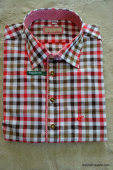 Men's Trachten Shirt Red Taupe Black Check