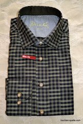 Men's Trachten Shirt Black with Olive Check