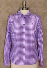 Ladies cotton/poly basic casual blouse/shirt in traditional checkered pattern.  Convertible Sleeve.  Shown in Mauve. (Light Purple).