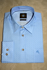 Men's Casual Dress Shirt Blue and White Print
