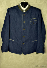 Men's Allwerk Linen Trachten Jacket Strobl Denim Blue