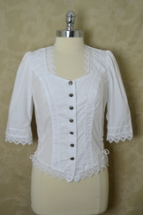 White embroidered trachten blouse with embroidered lace trim imported from Germany