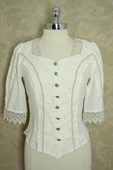 ladies' trachten blouse linen ivory with lace trim and embroidered panels trachten-quelle