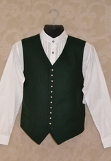 Traditional wool vest with button front in dark green.