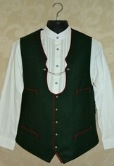 Traditional green wool Miesbacher style men's trachten vest.