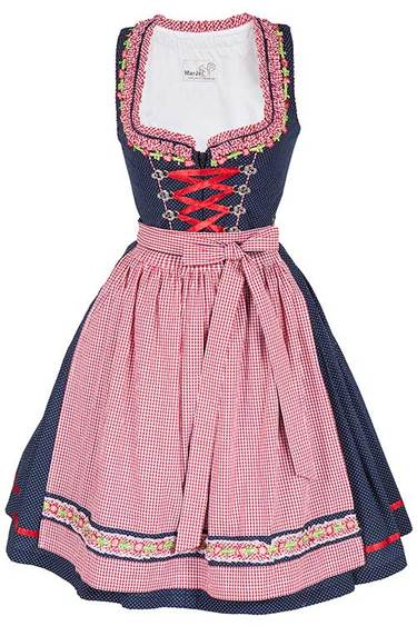 Dirndl Blanda in Navy & Red by Marjo