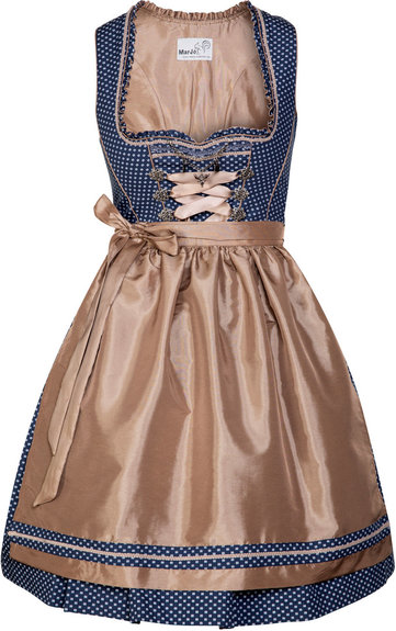 Dirndl Evette Blue and Taupe Short Length