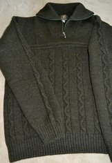Sweater Cable Knit with Quarter Zip Olive Green