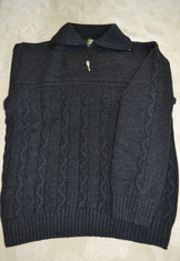Sweater Cable Knit with Quarter Zip Grey